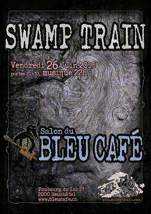flyer Swamp Train @ Blue Café June 26 2015